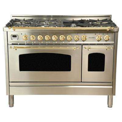 48 in. 5.0 cu.ft. Double Oven Dual Fuel Italian Range True Convection,7 Burners,Griddle,LPGas,Brass Trim/Stainless Steel
