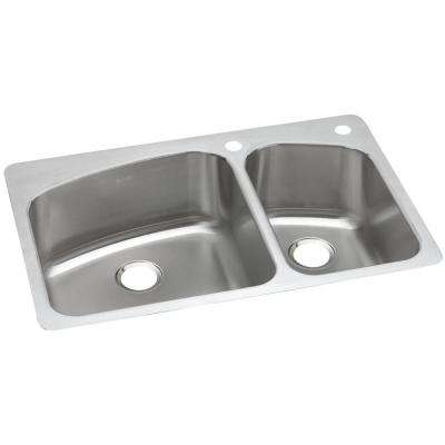 Dayton Dual Mount Stainless Steel 33 in. 2-Hole Double Bowl Kitchen Sink