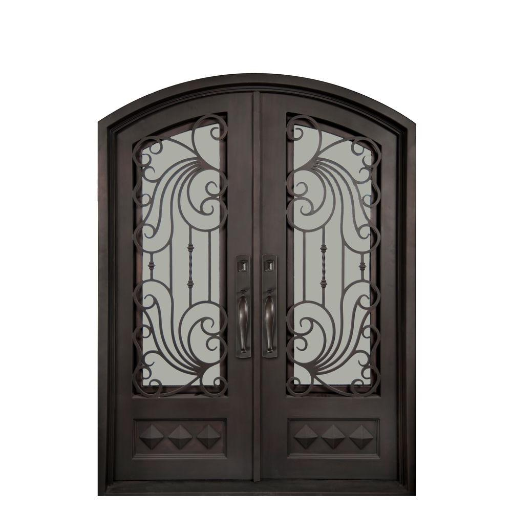 Iron Doors Unlimited Mara Marea Classic 3/4 Lite Painted Oil Rubbed Bronze Decorative Wrought Iron Prehung Front Door