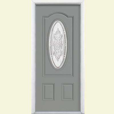 36 in. x 80 in. New Haven 3/4 Oval Right-Hand Inswing Painted Smooth Fiberglass Prehung Front Door w/ Brickmold
