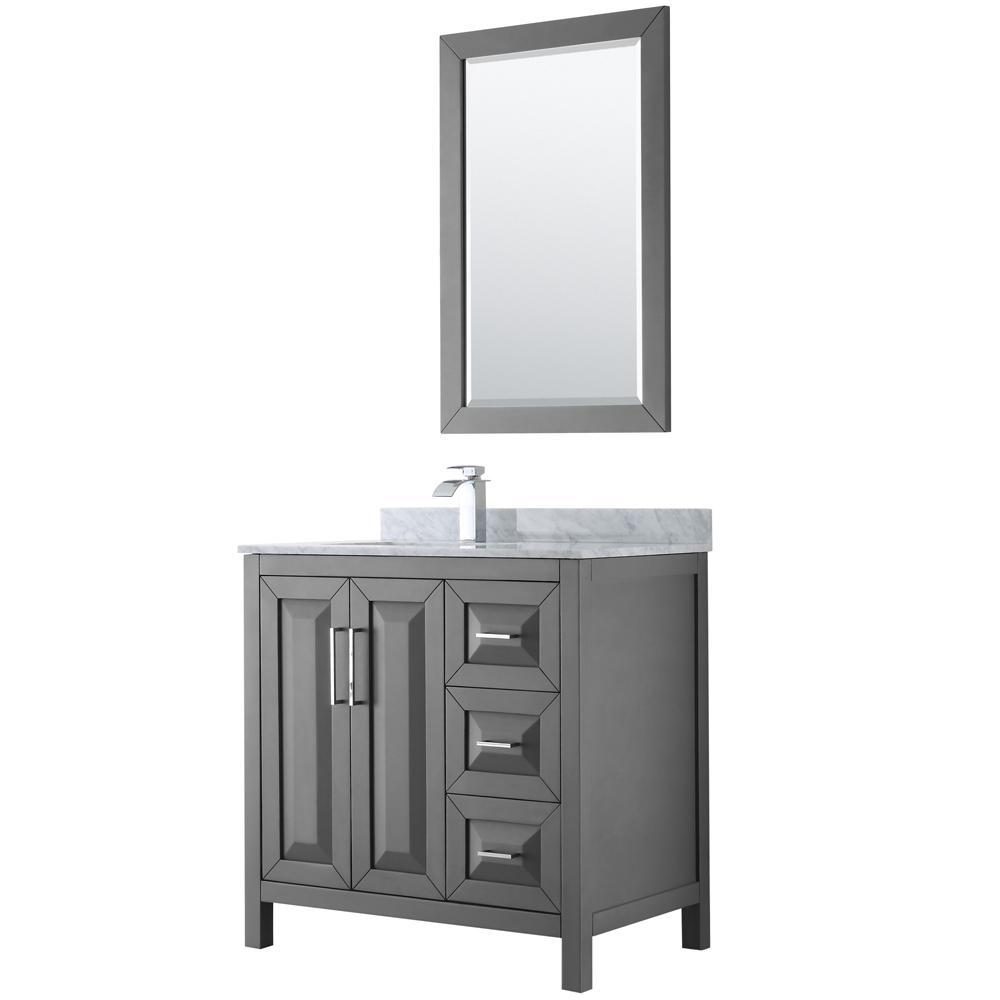 Daria 36 in. Single Bathroom Vanity in Dark Gray with Marble Vanity Top in Carrara White and 24 in. Mirror