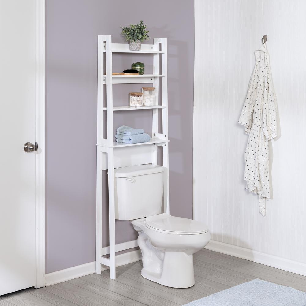 Honey-Can-Do 22.4 in D x 7.5 in W x 65.6 in H White Bamboo Bathroom Space  Saver