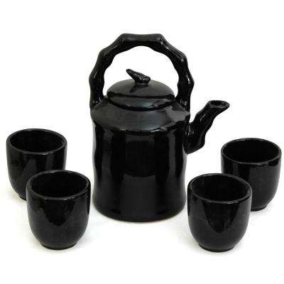 Oriental Furniture Solid Black Porcelain Tea Set