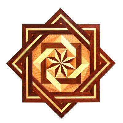 Star Medallion Unfinished Decorative Wood Floor Inlay MS004 - 5 in. x 3 in. Take Home Sample