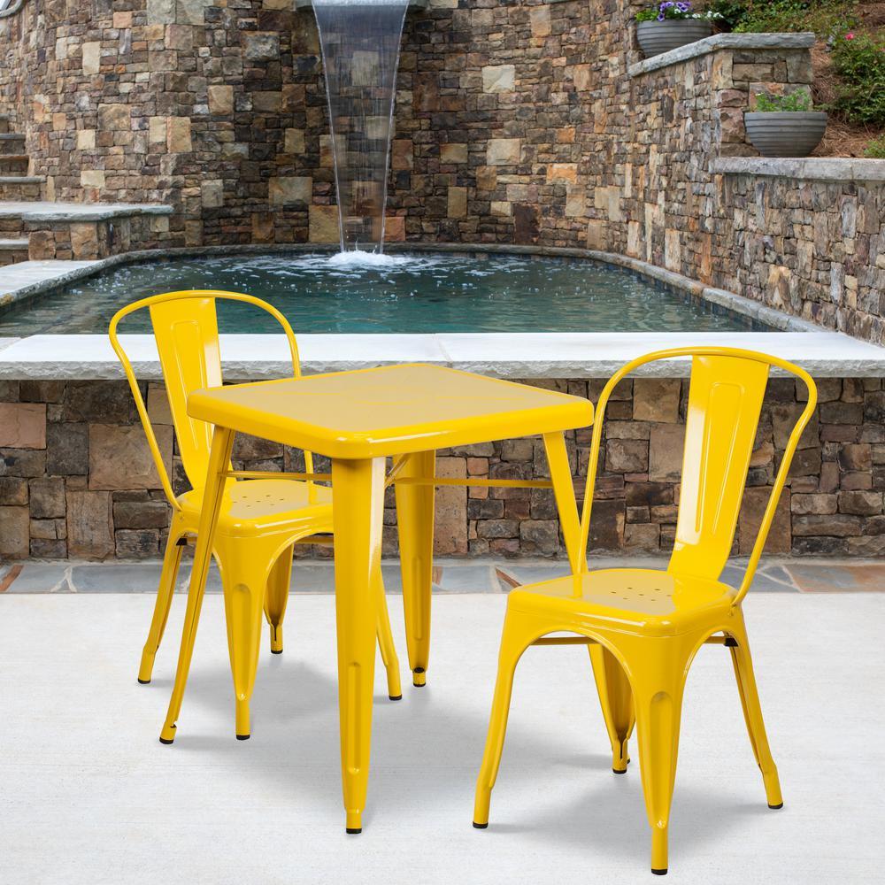 Yellow 3-Piece Metal Square Outdoor Bistro Set