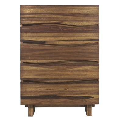 Ocean 5-Drawer Natural Sengon Chest of Drawers 56 in. H x 38 in. W x 18 in. D