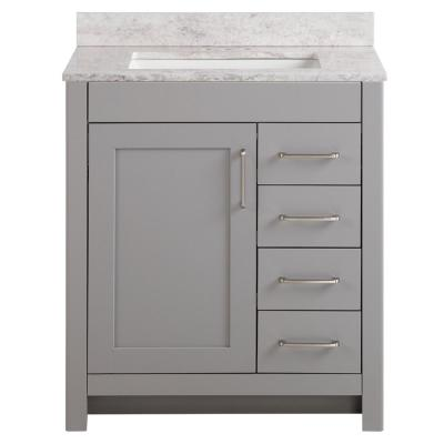 Westcourt 31 in. W x 22 in. D Bath Vanity in Sterling Gray with Stone Effect Vanity Top in Winter Mist with White Sink