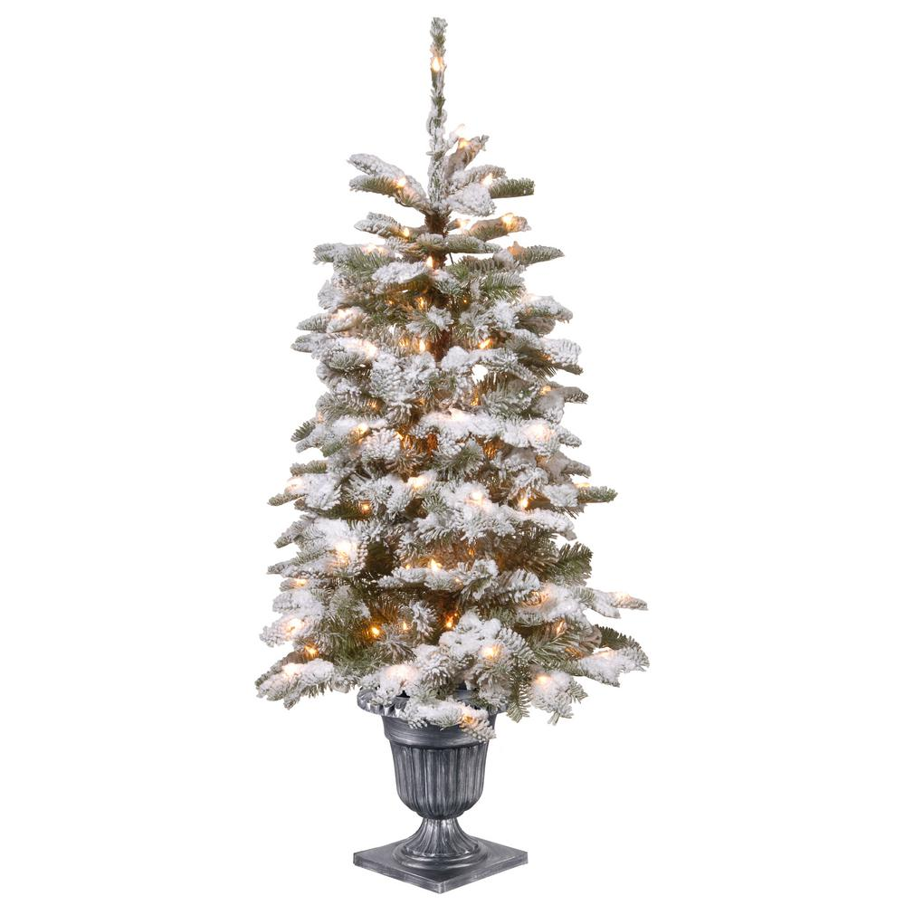 National Tree Company 4 Ft Feel Real Snowy Camden Entrance In Silver Brushed Urn