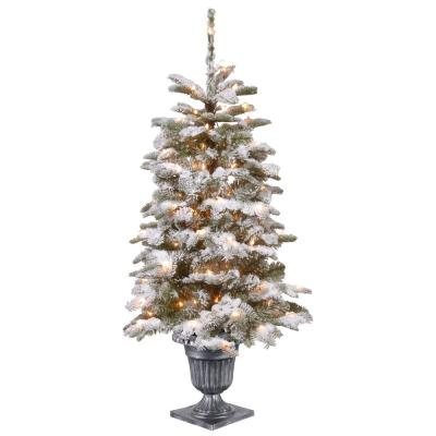 4 ft. Feel Real Snowy Camden Entrance Tree in Silver Brushed Urn with 100 Clear Lights