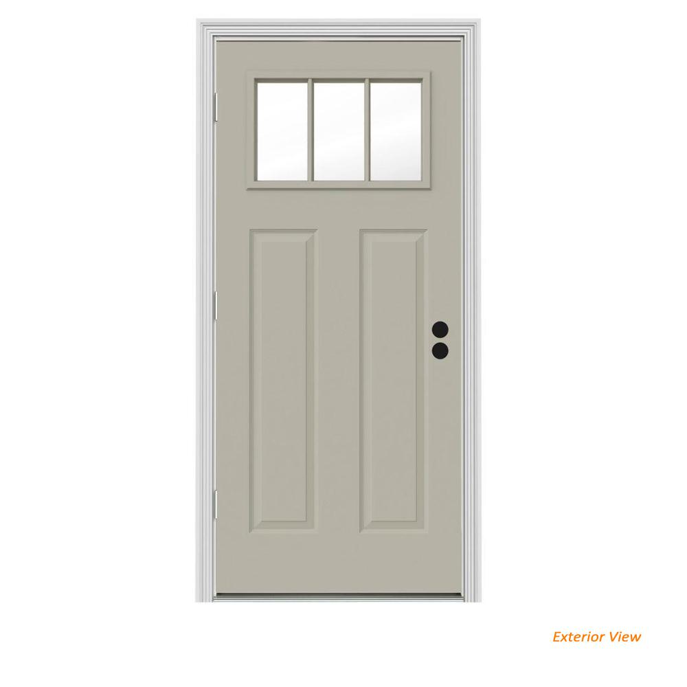 JELD-WEN 34 in. x 80 in. 3 Lite Craftsman Desert Sand Painted Steel Prehung Right-Hand Outswing Front Door w/Brickmould