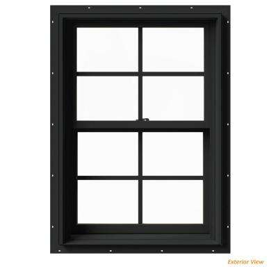 25.375 in. x 36 in. W-2500 Series Bronze Painted Clad Wood Double Hung Window w/ Natural Interior and Screen