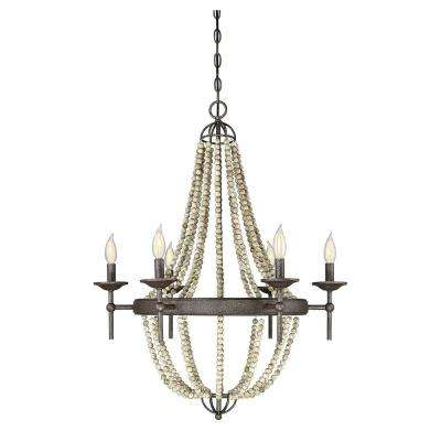 6-Light Fossil Stone Chandelier