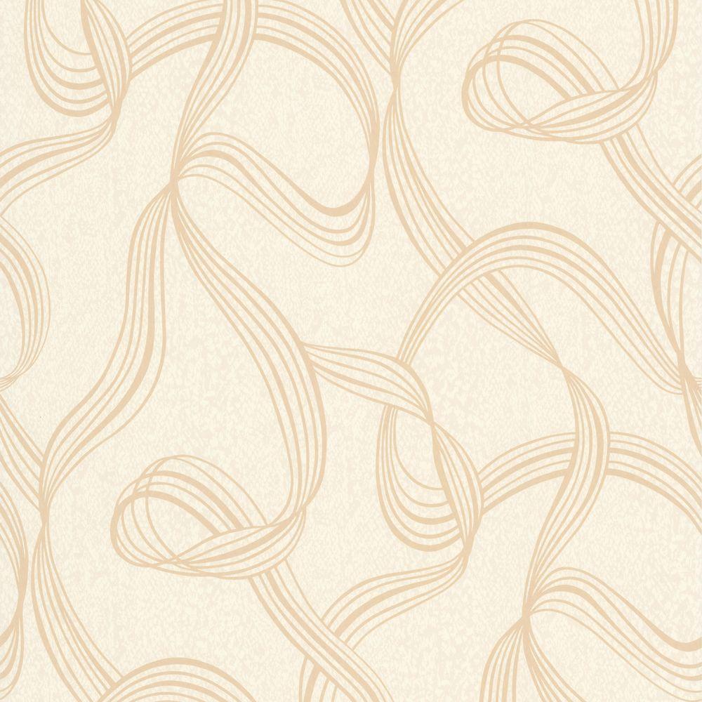 Aria Gold Ribbon Swirl Wallpaper