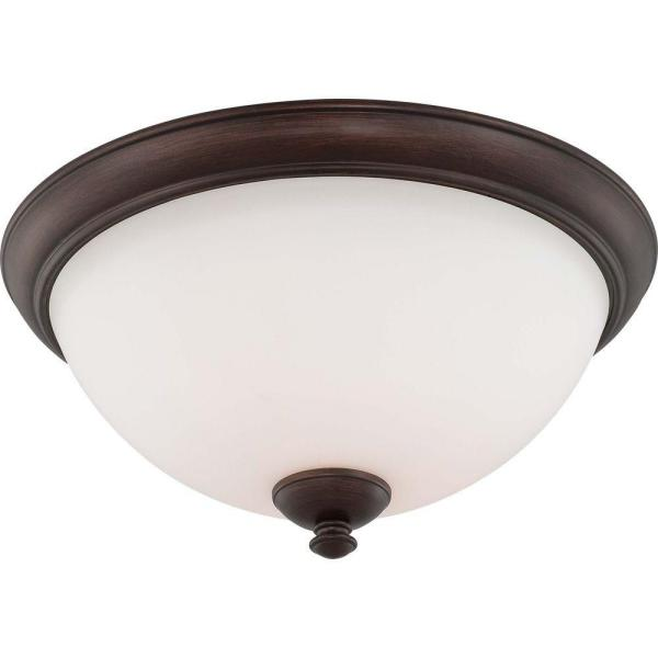 3-Light Flush Mount Prairie Bronze Fixture with Frosted Glass Shade