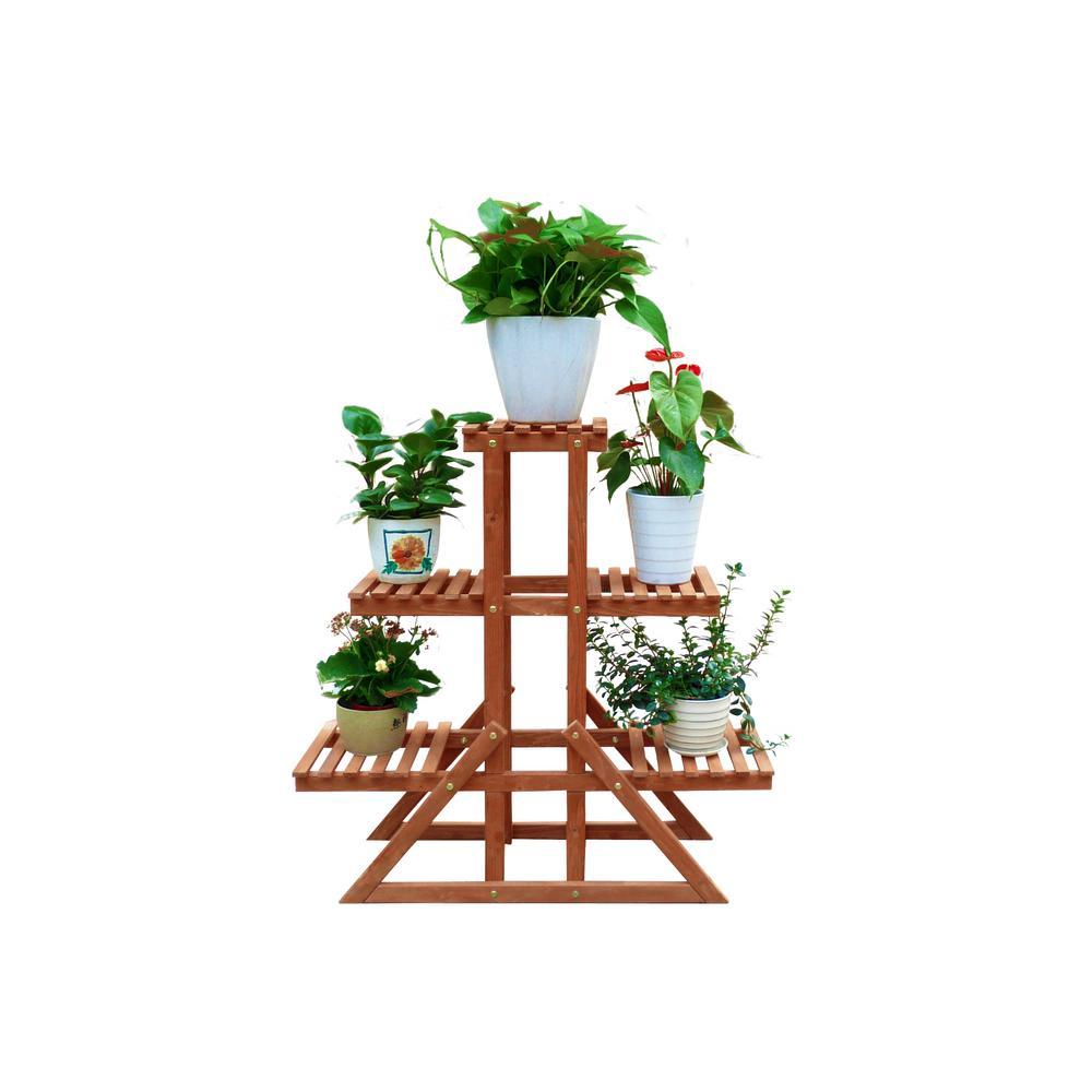 34 in. W x 11 in. D x 34 in. H Brown Wooden 3-Tier Indoor Outdoor Plant Stand