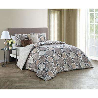 Greer 5-Piece Taupe Queen Comforter Set