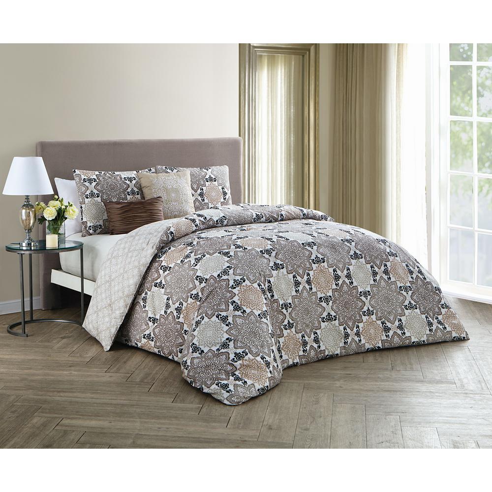 Greer 5-Piece Taupe Queen Comforter Set