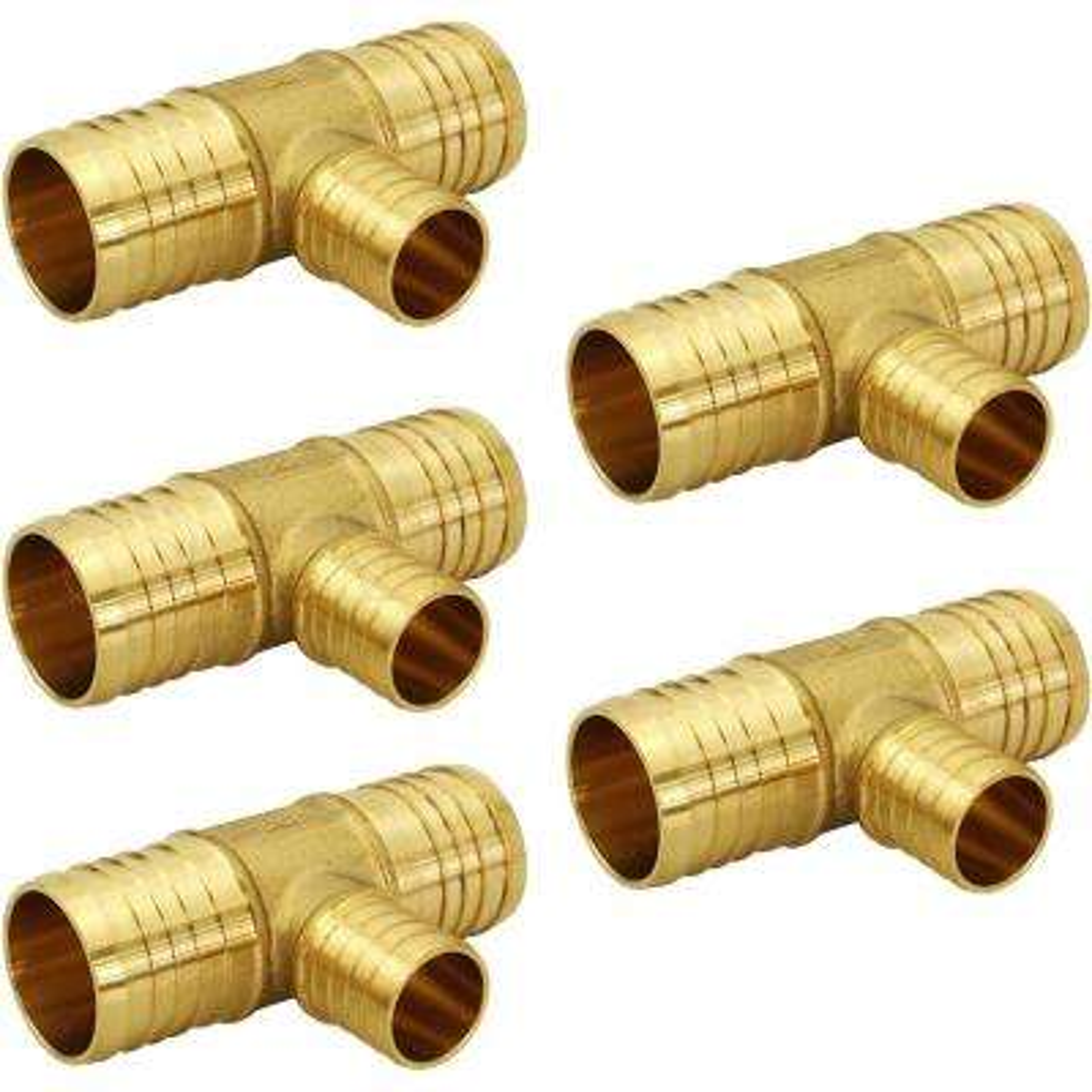 1 in. x 1 in. x 3/4 in. Brass PEX Barb Reducing Tee Pipe Fittings (5-Pack)