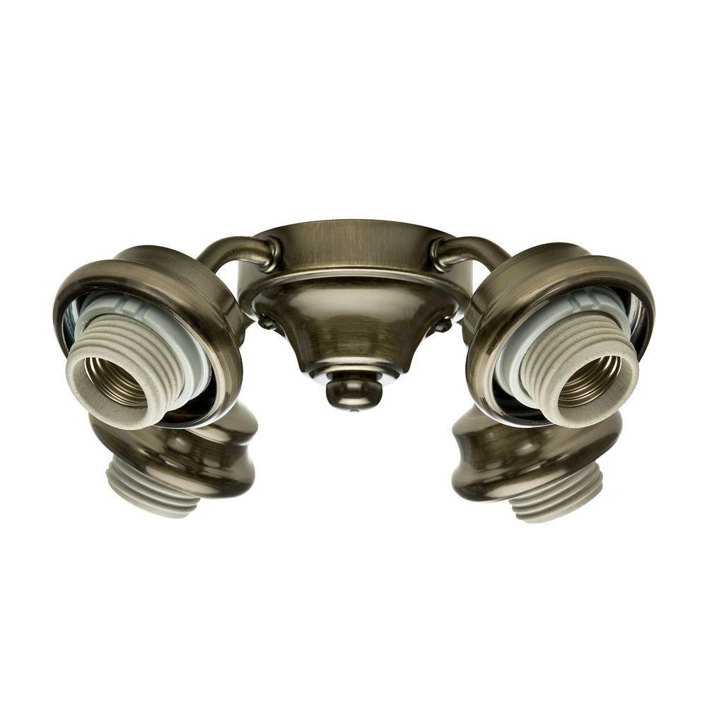 2.25 in. 4-Light Antique Brass Ceiling Fan Arm Fitter