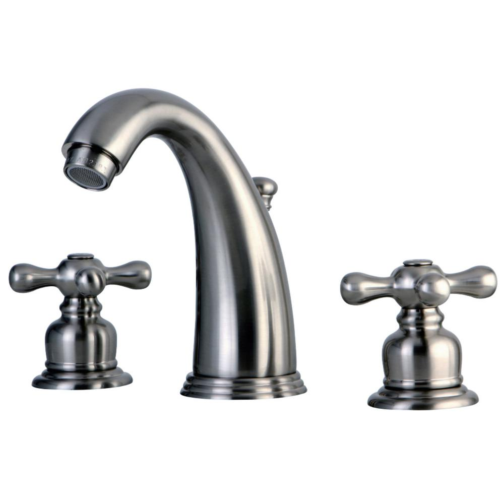 Kingston Brass Victorian 8 In. Widespread 2-Handle Bathroom Faucet In Brushed Nickel-HKB988AX