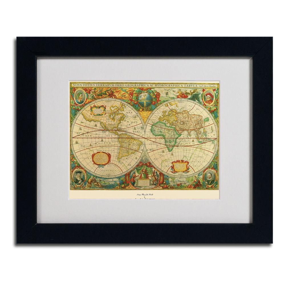 11 in. x 14 in. Old World Map Painting Matted Framed Art-75-220 ...