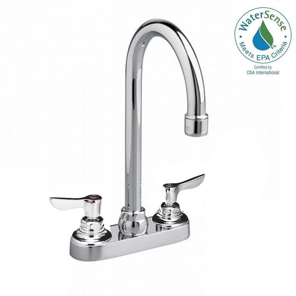 American Standard Monterrey 2-Handle Bar Faucet in Chrome with 5 Gooseneck Spout and Less Drain