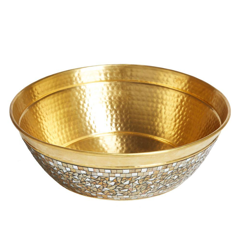 SINKOLOGY Shockley 16 in. Solid Brass Bathroom Vessel Sink with Hand Applied Glass Mosaic Exterior in a Champagne