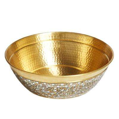 Shockley Solid Brass Vessel Sink in Champagne with Hand Applied Glass Mosaic Exterior