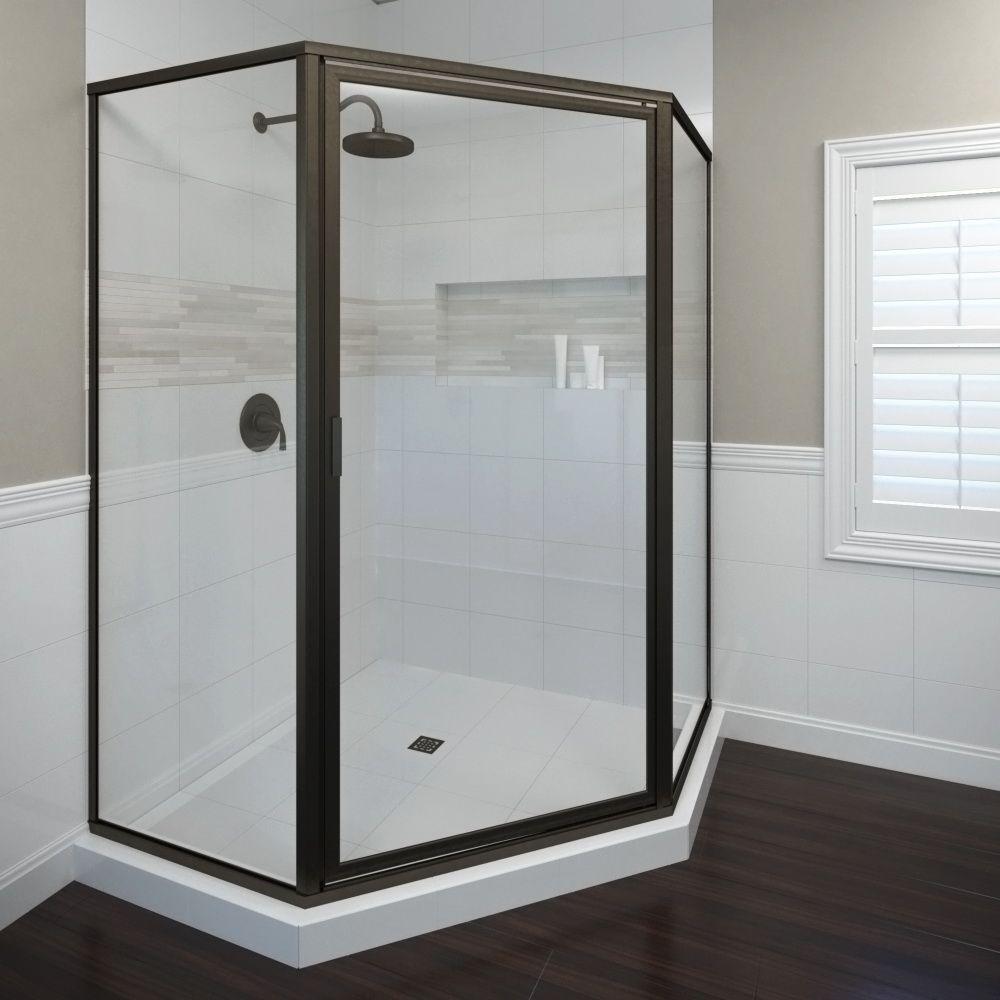 Deluxe 23-3/8 in. x 68-5/8 in. Framed Neo-Angle Shower Door in Oil Rubbed Bronze