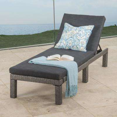Puerta Mixed Black Wicker Outdoor Chaise Lounge with Dark Grey Cushion