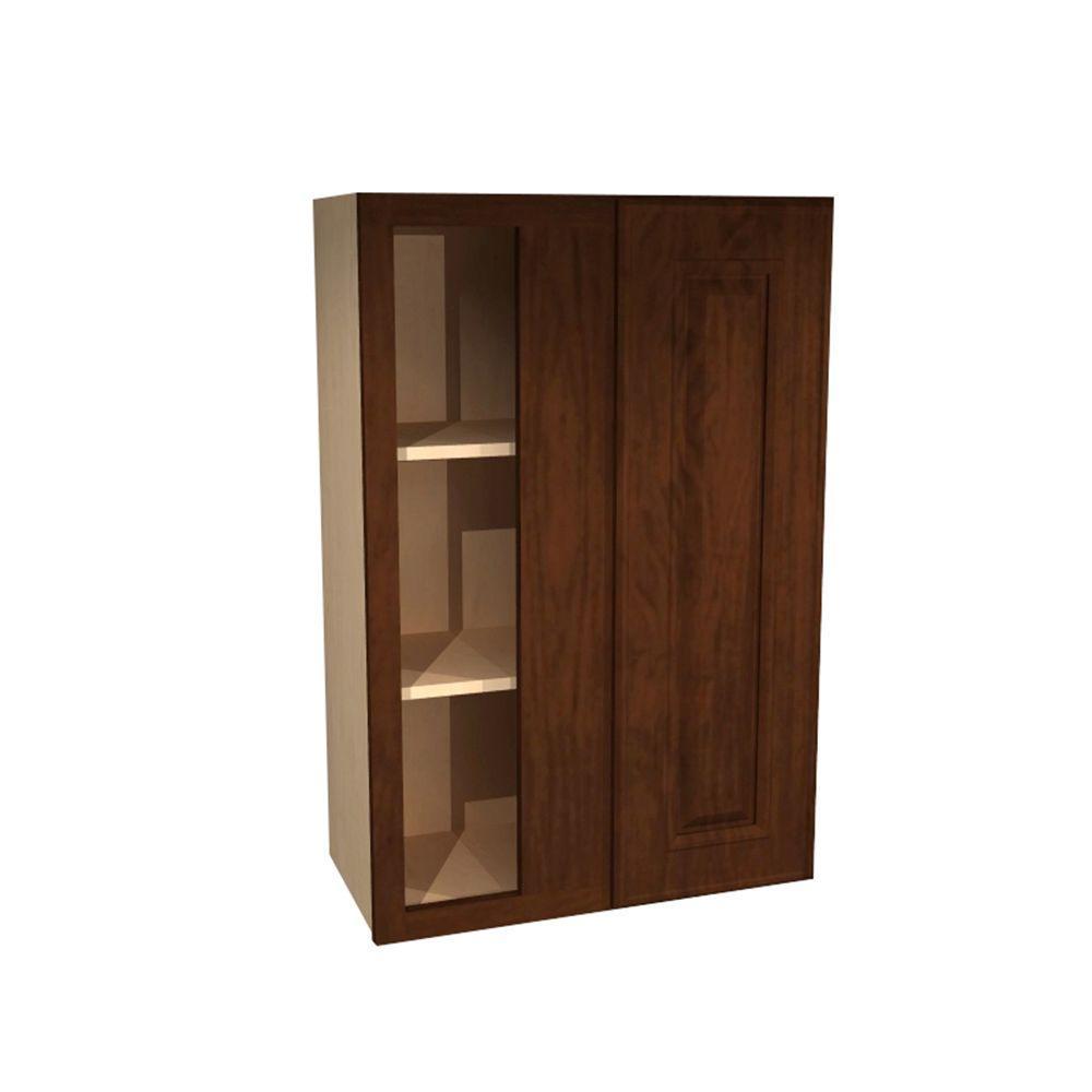Home Decorators Collection Roxbury Assembled 24x42x12 in. Single Door Hinge Left Wall Kitchen Blind Corner Cabinet in Manganite