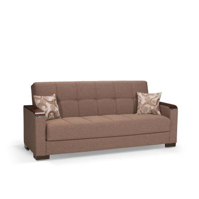 Armada 88 in. Dark Beige Chenille 3-Seater Full Sleeper Convertible Sofa Bed with Storage