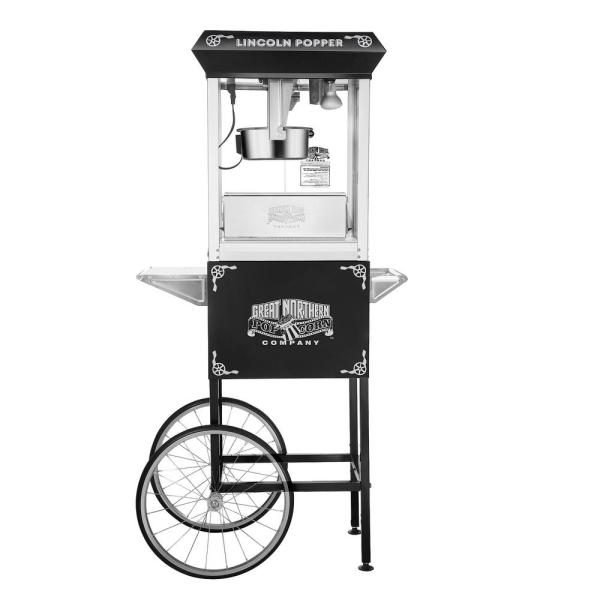 850 W 8 oz. Black Lincoln Popcorn Machine with Cart