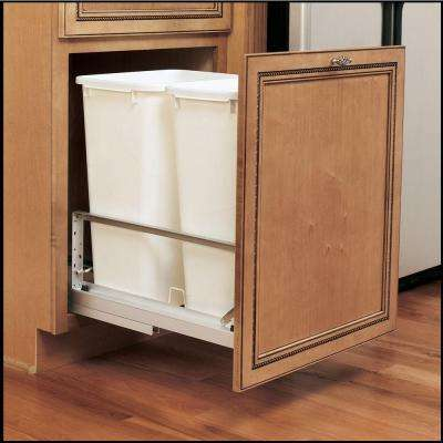 22.94 in. H x 14.81 in. W x 22.13 in. D Double 50 Qt. Pull-Out Brushed Aluminum and White Waste Container