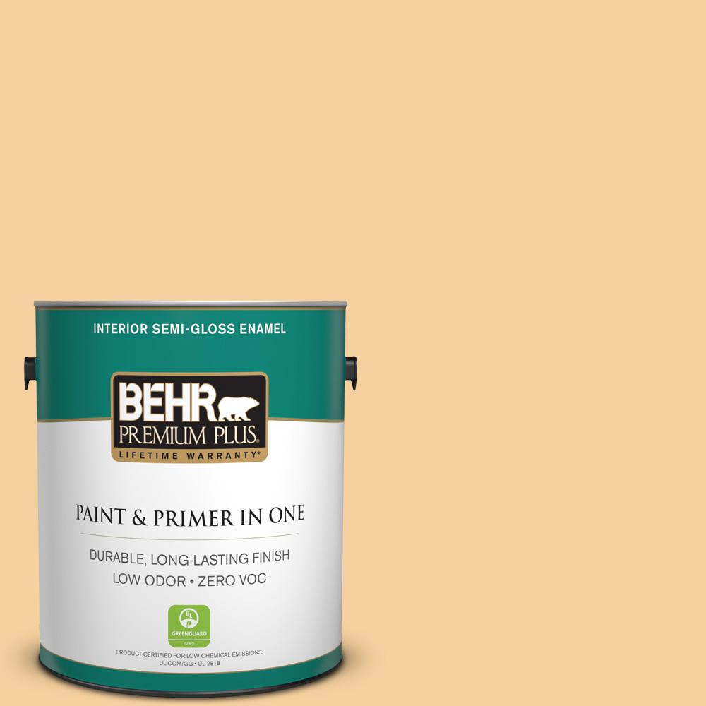BEHR Premium Plus 1 gal. #320C-3 Honey Butter Semi-Gloss Enamel Zero VOC Interior Paint and Primer in One