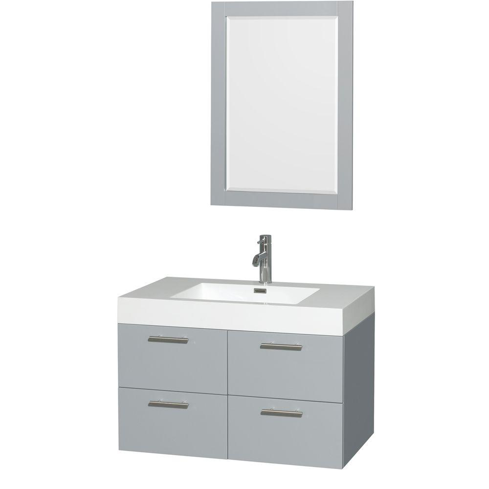 Wyndham Collection Amare 35 in. W x 21 in. D Vanity in Dove Gray with Acrylic Resin Vanity Top in White with White Basin and 24 in. Mirror