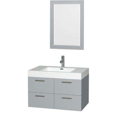 Amare 35 in. W x 21 in. D Vanity in Dove Gray with Acrylic Resin Vanity Top in White with White Basin and 24 in. Mirror