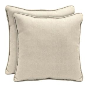 Sunbrella Canvas Flax Square Outdoor Throw Pillow (2 Pack) · Home Decorators  ...