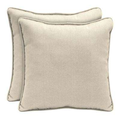 Sunbrella Canvas Flax Square Outdoor Throw Pillow (2 Pack)