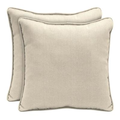 Sunbrella Canvas Flax Square Outdoor Throw Pillow (2-Pack)