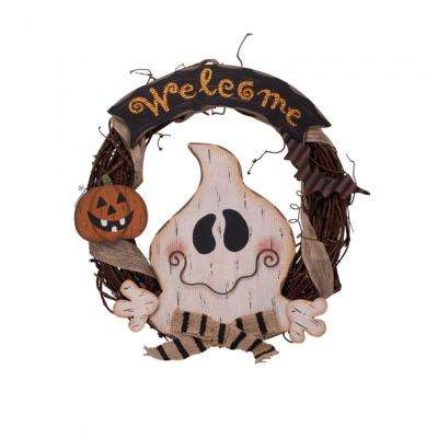 15.57 in. H Wooden Ghost Welcome Wreath