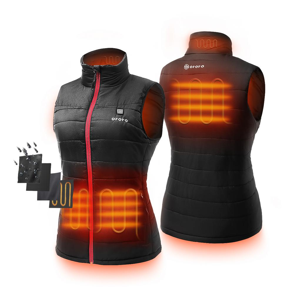 ORORO ORORO Women's Medium Black 7.4-Volt Lithium-Ion Lightweight Heated Vest with (1) 5.2 Ah Battery and Charger