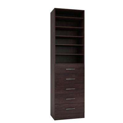 15 in. D x 24 in. W x 84 in. H Calabria Espresso Melamine with 6-Shelves and 5-Drawers Closet System Kit