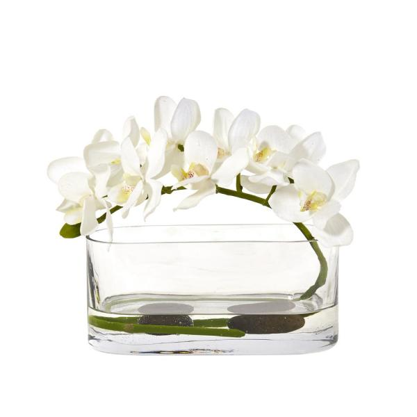 Nearly Natural Phalaenopsis Orchid Artificial Arrangement in Glass Vase 1950-WH
