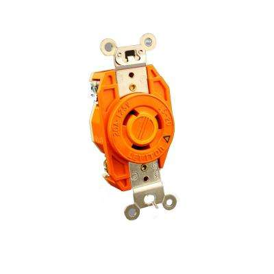 20 Amp 125-Volt Flush Mounting Isolated Ground Locking Outlet, Orange