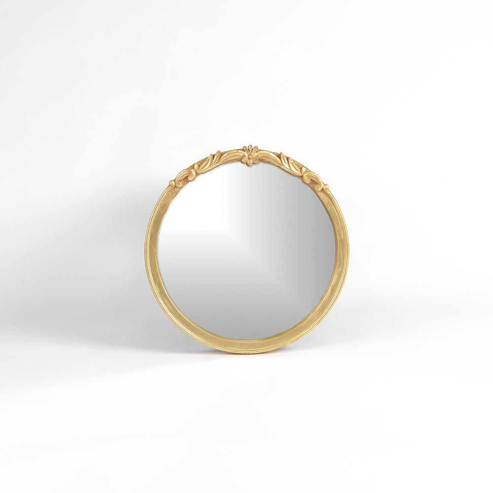20 in. Round Carved Gold Mirror