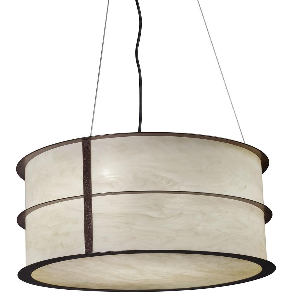 Filament Design 24 in. Ceiling Diameter Bronze Age Pendant with 3 Energy Efficient-Lights