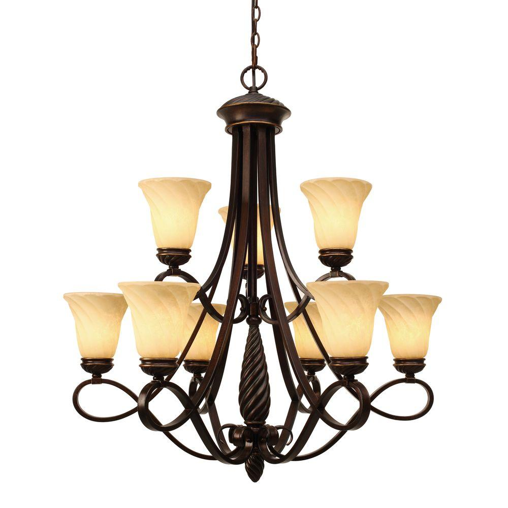 Laurent Collection 9-Light Cordoban Bronze 2-Tier Chandelier