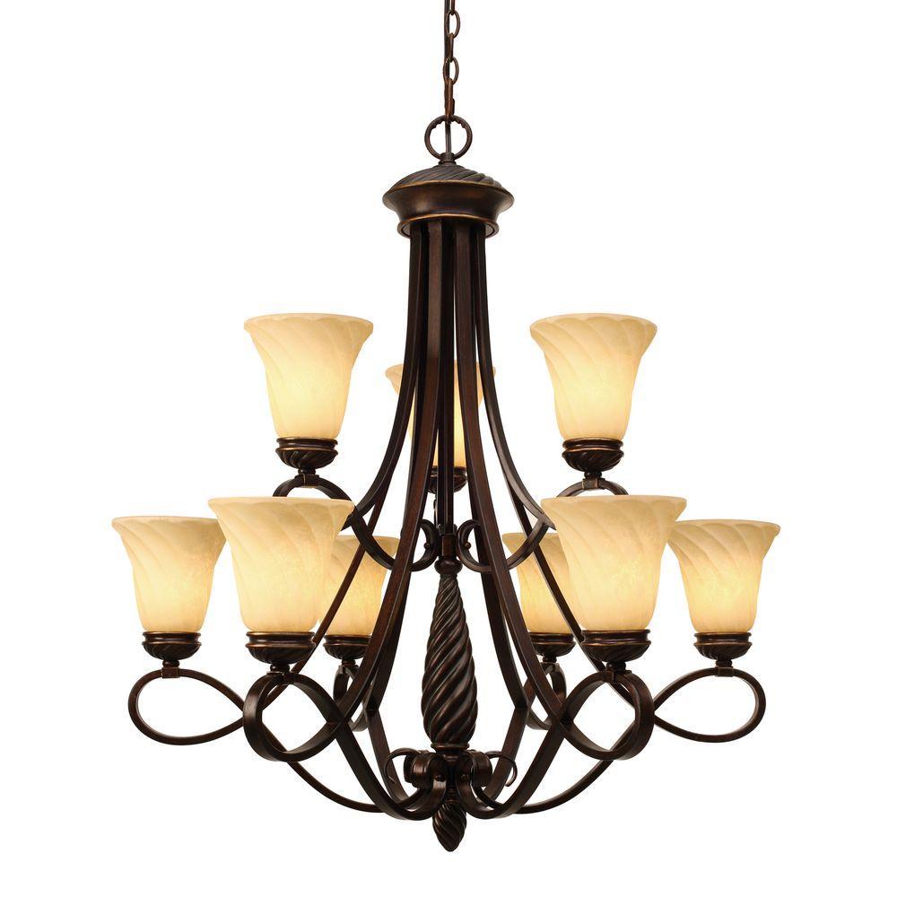 Laurent Collection 9-Light Cordoban Bronze 2-Tier Chandelier