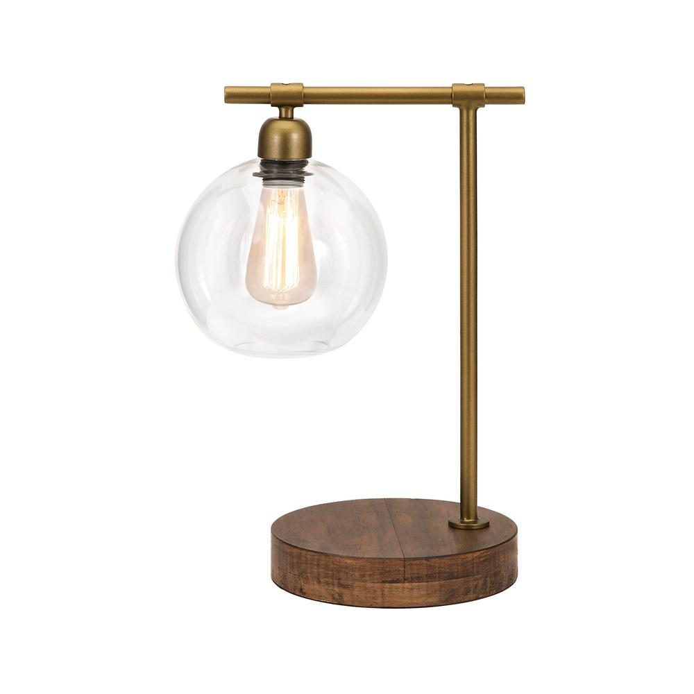 Amplitude Glass And Wood Table Lamp 18 In. Bronze Table Lamp With Glass  Shade